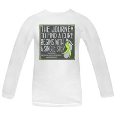 """Whether you're walking, jogging or running for a cause, you need to set yourself apart with this cute slogan design called """"The Journey to Find A Cure Begins With A Single Step"""" Women's Long Sleeve T-Shirts for Muscular Dystrophy awareness featuring a ribbon over a footprint to signify that every step counts. $21.99 awarenessribboncolors.com"""