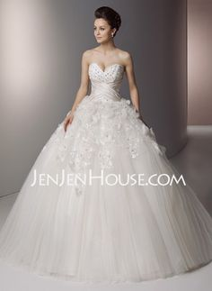 Wedding Dresses - $182.99 - A-Line/Princess Sweetheart Floor-Length Satin  Tulle Wedding Dresses With Lace  Beadwork (002006700) http://jenjenhouse.com/A-line-Princess-Sweetheart-Floor-length-Satin--Tulle-Wedding-Dresses-With-Lace--Beadwork-002006700-g6700