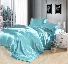 Designer Bedding Sets On Sale Blue Duvet, Blue Bedding, Satin Bedding, Luxury Bedding, Bedding Sets Online, Comforter Sets, King Comforter, Turquoise Duvet Cover, Toddler Girl Bedding Sets