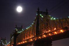 Moon Over Queensboro Bridge, New York City