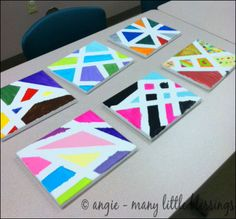 Painting Projects with the Help of Painters Tape, tape resist art Painters Tape Art, Tape Painting, Painting For Kids, Art For Kids, Painting Canvas, Rock Painting, Preschool Painting, Kids Canvas, Canvas Art