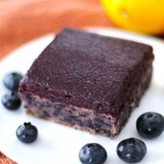 Low-fat Blueberry Muffin Blondies with Blueberry Frosting (only 170 calories and sugar free!)