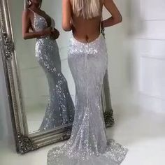 aa6c18ddc $129--Sexy Sliver Mermaid Prom Dresses | Spaghetti Straps Sequins Evening  Dresses