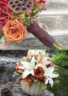 Fall wedding flowers- the bouquet on top is a great example of dark pink and gray color scheme.
