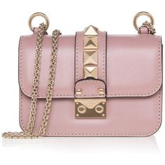 Valentino Rockstud Leather Shoulder Bag (€1.615) ❤ liked on Polyvore featuring bags, handbags and shoulder bags