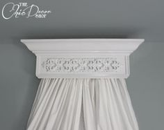 cornice shelf over crib | Bed Crown Canopy, Crib Crown, Teester, Cornice, White with Ornate ...