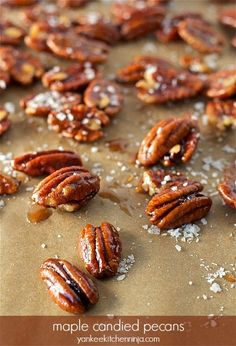 5-minute, 3-ingredient maple candied pecans -- a great food gift! | yankeekitchenninja.com