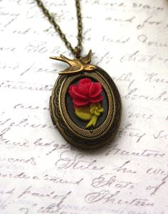 Tiny Rose Flower and Swallow Bird Vintage Inspired Locket Necklace. Wedding Gift Ideas | From Marolsha.