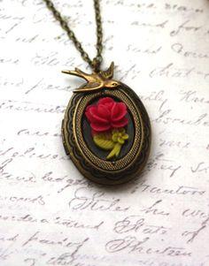 Tiny Rose Flower and Swallow Bird Vintage Inspired Locket Necklace. Wedding Gift Ideas | From Marolsha.