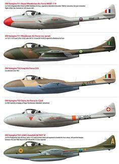 De Havilland Vampire Squadrons Military Jets, Military Aircraft, Paint Schemes, Colour Schemes, Fighter Aircraft, Fighter Jets, De Havilland Vampire, Swedish Air Force, Aircraft Painting