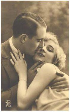 1940s 1950s Movie Star Studio Style Romantic Couple Embracing On