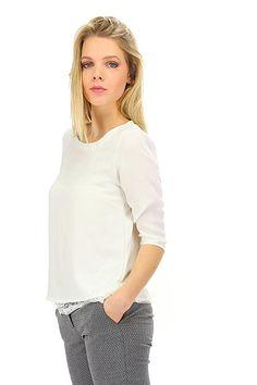 LIU.JO - Camicie - Abbigliamento - Camicia in viscosa con sottoveste in pizzo. Manica a tre quarti e collo rotondo.La la nostra modella indossa la taglia /EU 40. - ECRU - € 105.00
