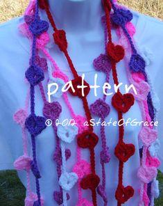 Heart Lariat Scarf PATTERN Crochet Valentine by aStateOfGrace