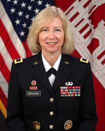 Brigadier General Margaret W. Burcham Commissioned in the U.S. Army Corps of Engineers from the United States Military Academy at West Point, NY in 1982,  received a master's in Computer Science from Kansas State University. Her military education includes the Combined Arms Services Staff School, the Command and General Staff Officers Course, and the Senior Service College, Industrial College of the Armed Forces.   #USArmy   http://www.army.mil/women/profiles.html