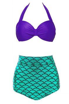 2016 Hot Mermaid New Sexy Bikini Set Women Vintage High Waist Swimwear Fish Scale Print Push Up Cutest Beachwear Swimsuit