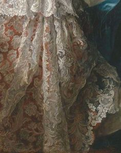 """Lace detail from the boudoir in the painting """"Madame Marsollier and Her Daughter"""" by Jean Marc Nattier Exquisite! Antique Lace, Vintage Lace, Pearl And Lace, Linens And Lace, Renaissance Art, Oeuvre D'art, Lace Detail, Amazing Art, Illustration Art"""