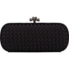 Bottega Veneta Intreccio Impero Long Clutch ($1,750) ❤ liked on Polyvore featuring bags, handbags, clutches, black, black woven handbag, black leather handbags, black clutches, black handbags and woven purse