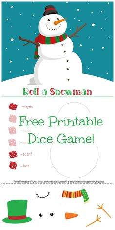 Roll a Snowman Printable Dice Game - A super fun winter activity for kids and families! You always need clean and cheap kids activities when you're stuck indoor! via @amomstake