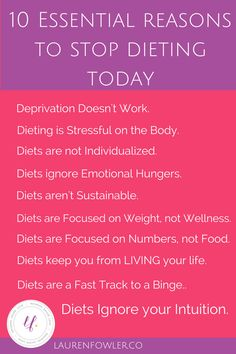 Most people know diets don't work, but here's why: they lead to mental and physical deprivation. Here's the 10 essential reasons to stop dieting and build a life full of health instead.