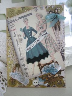 Sewing-themed Card Victorian Seamstress Card by AvantCarde