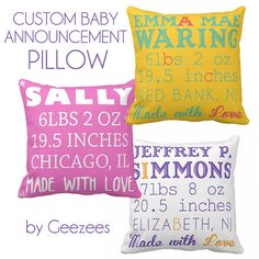 Custom Baby Nursery Announcement Pillow by GeezeesCustomCanvas, $130.00