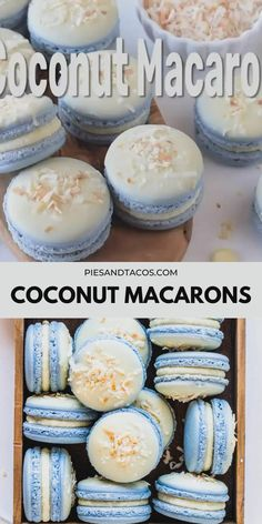 Coconut Macarons - Pies and Tacos Macaron Filling, Macaron Flavors, Easy Macaron Recipe, Best Macaroon Recipe, Macron Recipe, Macarons Easy, How To Make Macaroons, Making Macarons, Vegan Macarons