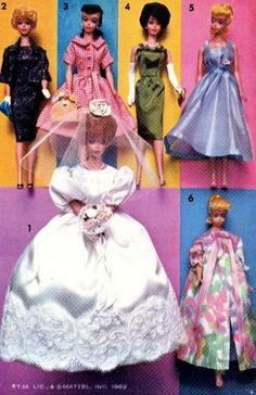 Vintage Doll Clothes PATTERN 2895 for 11.5 in Barbie Midge Francie  by Mattel