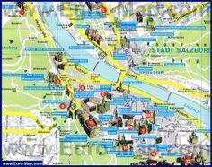 Map of Salzburg Walking Map, Walking Tour, Munich, Austria Map, Tourist Map, Innsbruck, The Province, Summer Travel, Places To Visit