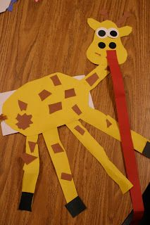 Giraffe with real life size tongue from Mrs. Lee's Kindergarten