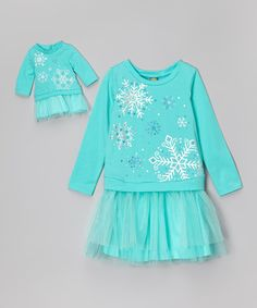 Turquoise Snowflake Layered Dress & Doll Outfit - Girls