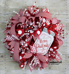 """XL whimsical """"Merry Christmas"""" Deco Mesh Christmas Wreath for front door is sure to be a super fun way greeting your guest this holiday season!"""