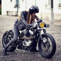 One badass lady and her V-twin  #custom #vtwin #custombike #bike #bikerchick #chick #bikergirl #girl #woman #lady #girlsonbikes #bikerbabe #motorcycle #motorrad #motor #caferacer #caferacerunited #cool #coolgirl #awesome #nice #like #helmet #yellowlight #yellow #vintage #picoftheday #picture #badass