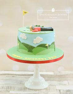 Golf birthday cake. With chocolate cake inside. By Deliciously Divine Cake Design, Nuneaton, Warwickshire. Www.delisciouslydivine.co.uk