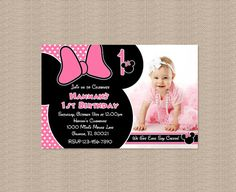 Pink Minnie Mouse Birthday Party Invitation  by Honeyprint on Etsy, $15.00