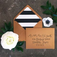 Custom calligraphy on antique gold shimmer envelope with ultra modern black /white stripe liner | blooms by Bloom Colorfully