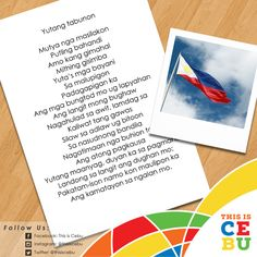 Cebuano/Binisaya version of the Philippine National Anthem entitled, 'Yutang Tabunon. National Anthem, Trivia, Philippines, Chart, Education, National Anthem Song, Quizes, Onderwijs, Learning