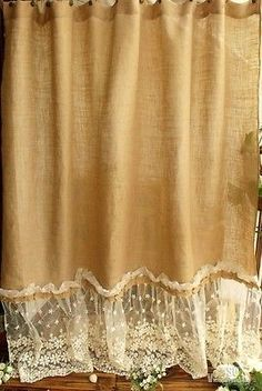"72"" SHABBY Rustic Chic Burlap SHOWER Curtain Lace Ruffles FLOWER French Country"
