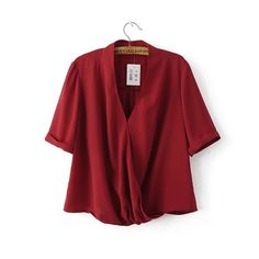 Blusas Femininas New Women V Neck Solid Chiffon Blouse Sexy lady Short Sleeve Blusa Fashion Blouses Shirt 3 Colors Tops