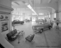 """1946 - Hughson Ford Dealership in San Francisco at 1400 Van Ness Avenue. The building is still there! - Source: Private Collection courtesy of """"Lost San Francisco"""" Lamborghini, Ferrari, Rolls Royce, Vintage Cars, Antique Cars, Vintage Auto, Vintage Tools, Automobile, Porsche"""