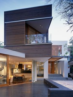 Residential architecture: modern contemporary home with wood and glass detail by Steve Domoney architect Architecture Résidentielle, Modern Architecture Design, Beautiful Architecture, Modern House Design, Japanese Architecture, Sustainable Architecture, Style At Home, Modern Contemporary Homes, Exterior Design