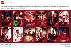Campari global Facebook page. 2013 Calendar promotion activity. With Penelope Cruz as the star.
