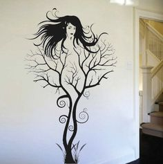 Abstract Tree Woman Tree Wall Decal Removable by TrendyWallDesigns Mural Wall Art, Vinyl Wall Art, Wall Decal, Art Sketches, Art Drawings, Tree Tattoo Designs, Tattoo Tree, Tattoo Moon, Tattoo Ideas