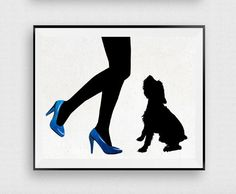 Dog wall art Terrie Woman with dog Fashion by InstantDownloadArt1