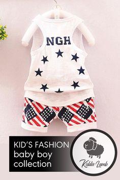Stripes & Stars Summer Short Set Baby Boy Fashion, Kids Fashion, Trendy Kids, Short Set, Cute Tshirts, Summer Shorts, Best Sellers, Sleeve Styles, Lamb