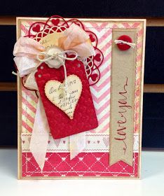 Valentine's Day Card - Make it at Home! Add ribbons, twine and even reuse paper w/ card stock cut-outs. #valentinescard