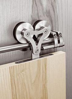 Stainless steel barn door hardware.