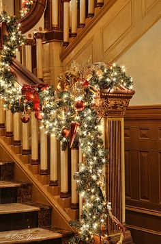 Lovely Christmas Banister Decor
