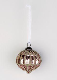 wilko frozen glass onion bauble pink christmas. Black Bedroom Furniture Sets. Home Design Ideas