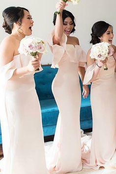 mermaid off shoulder pink bridesmaid dresses, elegant evening party dresses, chic fashion party dresses.