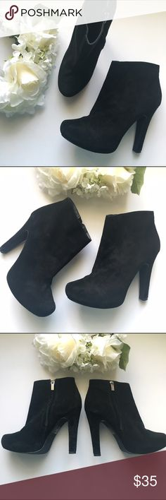 "Colin Stuart // High Heel Booties - black The best suede booties from Colin Stuart for Victoria's Secret. Faux suede upper with a rubber tread. These have been worn, but are in good condition.  Heels are 4.75"" with a 1"" platform under the foot bed. Victoria's Secret Shoes Ankle Boots & Booties"